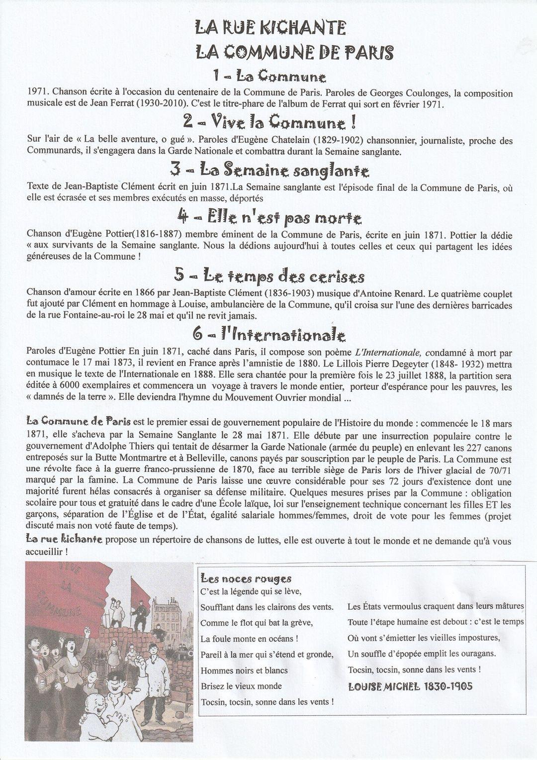 Programme Chorale, anniversaire de la commune.